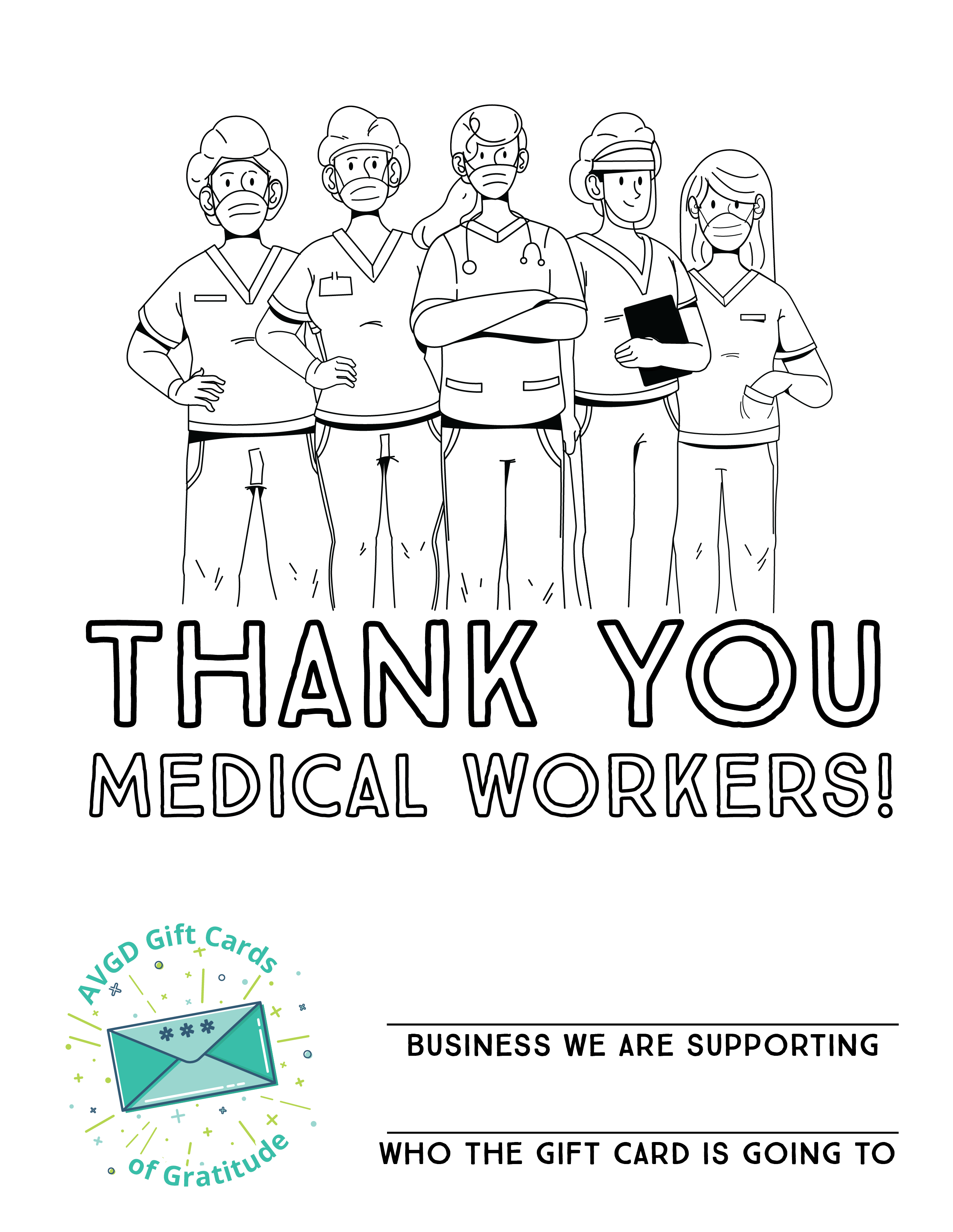 AVGD Gift Cards Coloring Sheets_Medical Workers