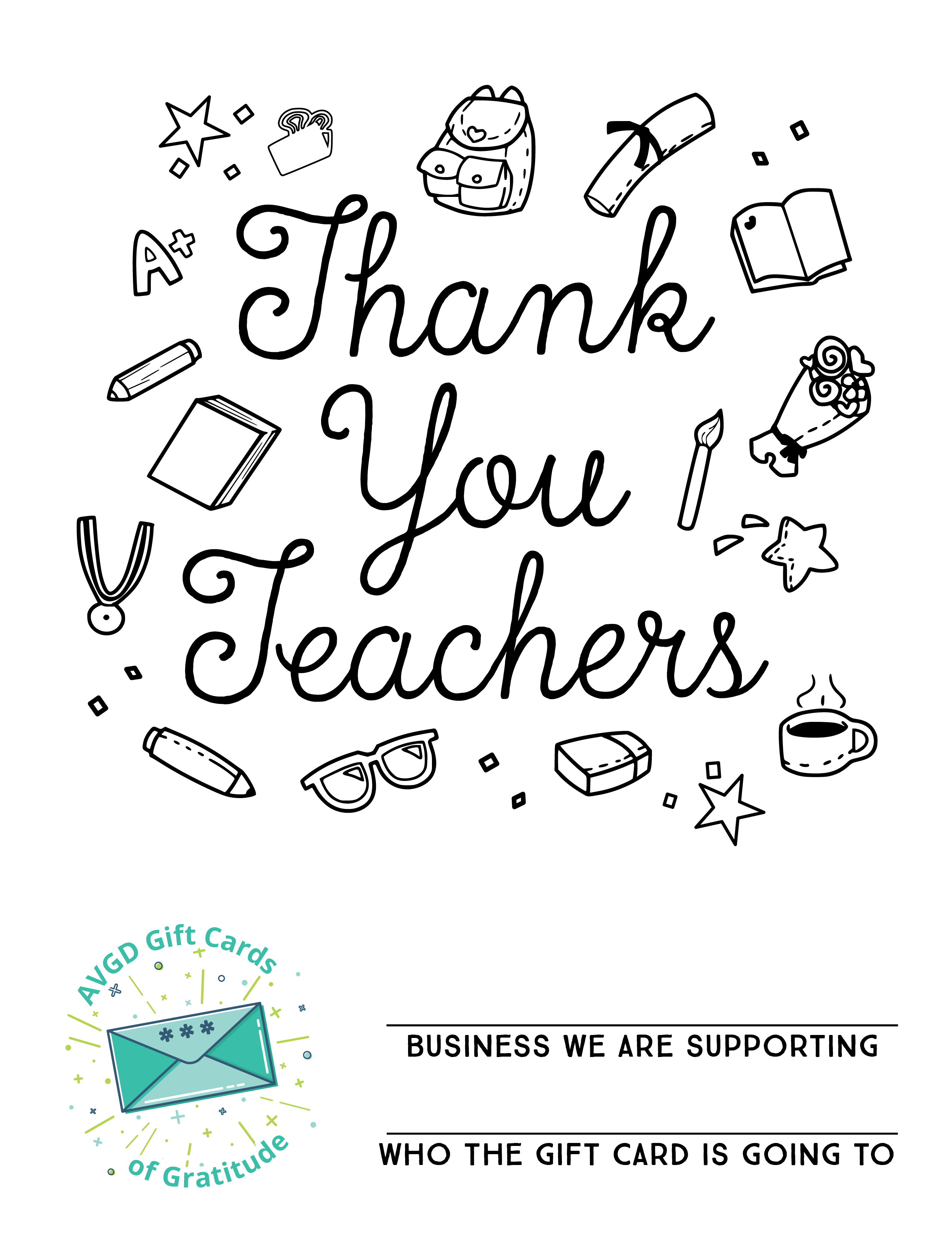 AVGD Gift Cards Coloring Sheets_Teachers
